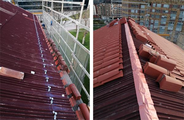 Colocación de teja curva sobre impermeabilización de tejado.