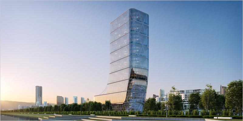 edificio con fachada de vidrio agc