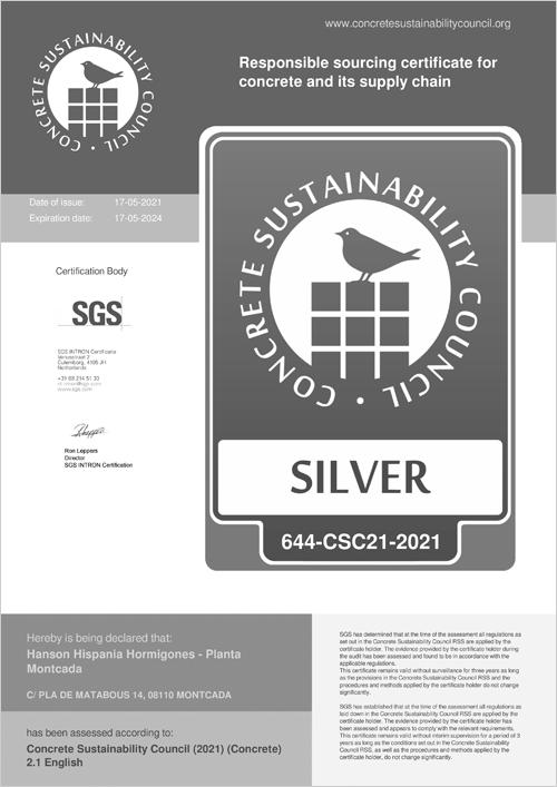 certificación por parte del Concrete Sustainability Council