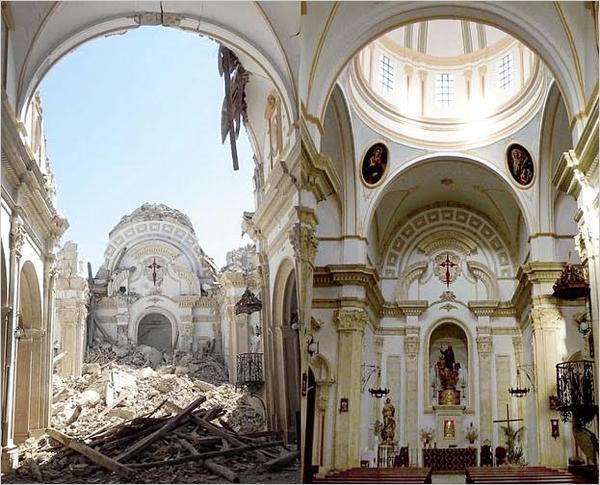 antes y después de un sismo en un edificio patrimonial