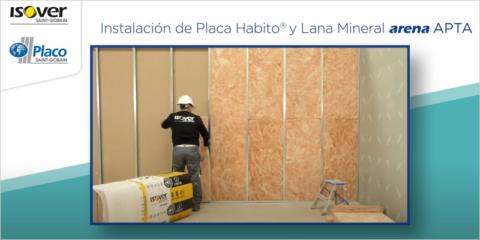 Tabique Placa Yeso Laminado Habito y Lana Mineral arena APTA