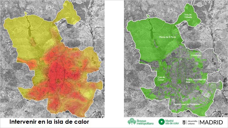 mapas isla calor y parques verdes de Madrid