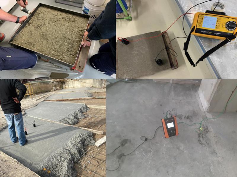 Fabricación de pruebas y mediciones del hormigón