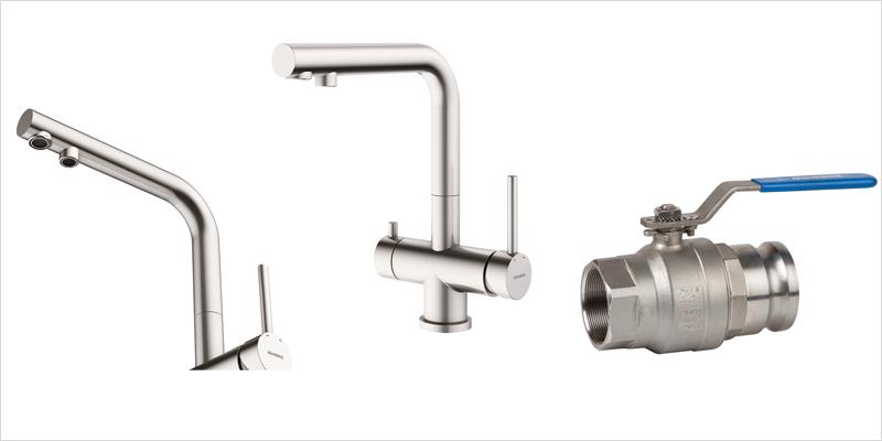 válvula y racores Camlock y el monomando de cocina 3 vías de la serie TAU