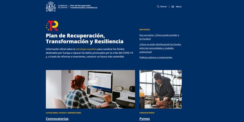 nueva web sobre los fondos europeos del Plan de Recuperación