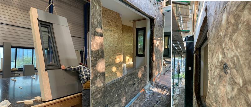 Elemento modular de la fachada y aislamientos aplicados en la rehabilitación del edificio en Países Bajos.