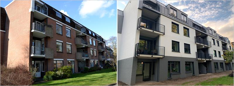 Aspecto de la fachada antes y después de su rehabilitación.