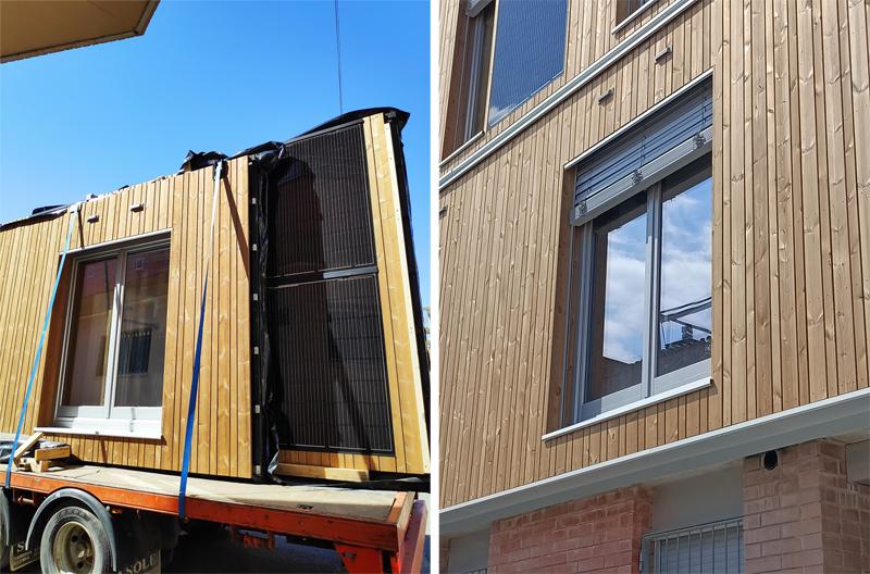 transporte y fachada con módulo de madera