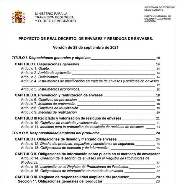 proyecto de Real Decreto